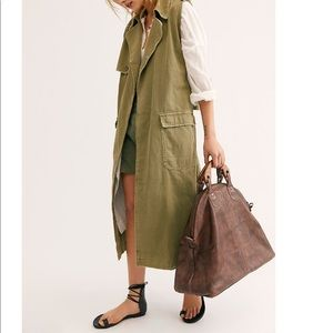 NEW free people willow vintage leather tote